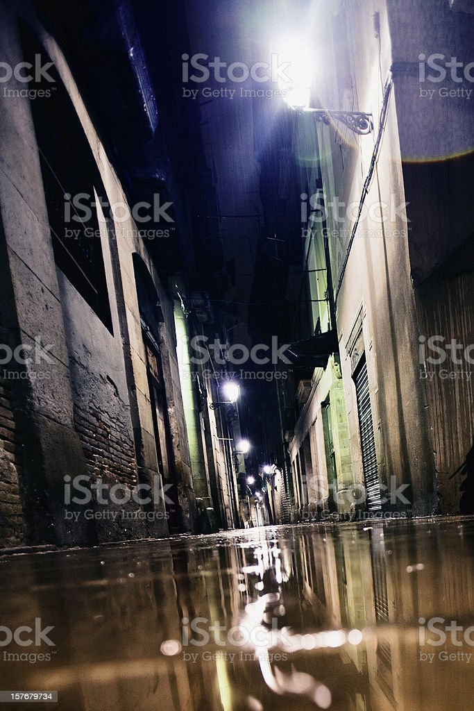 rainy night in town royalty-free stock photo