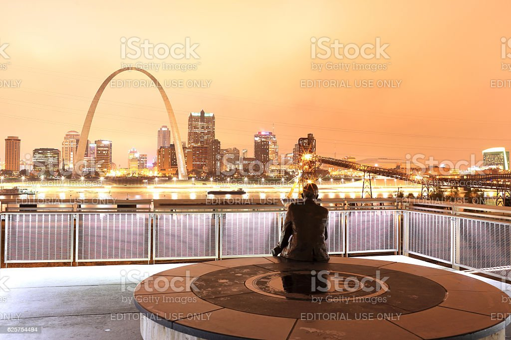 Rainy Night St. Louis Skyline stock photo
