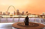 Rainy Night St. Louis Skyline