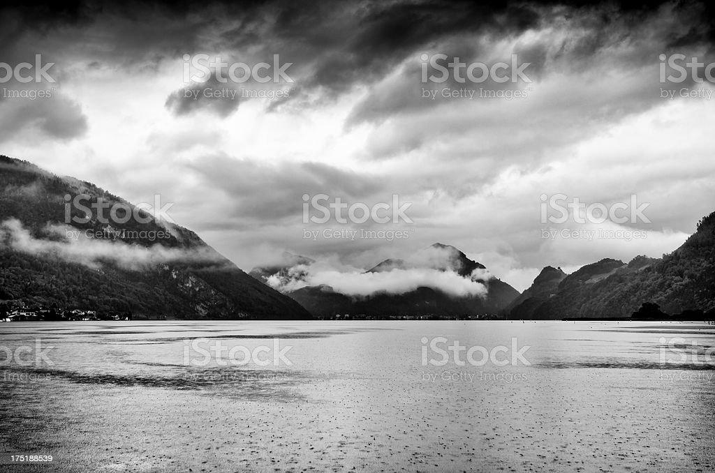 Rainy overcast day near a lake in Switzerland stock photo