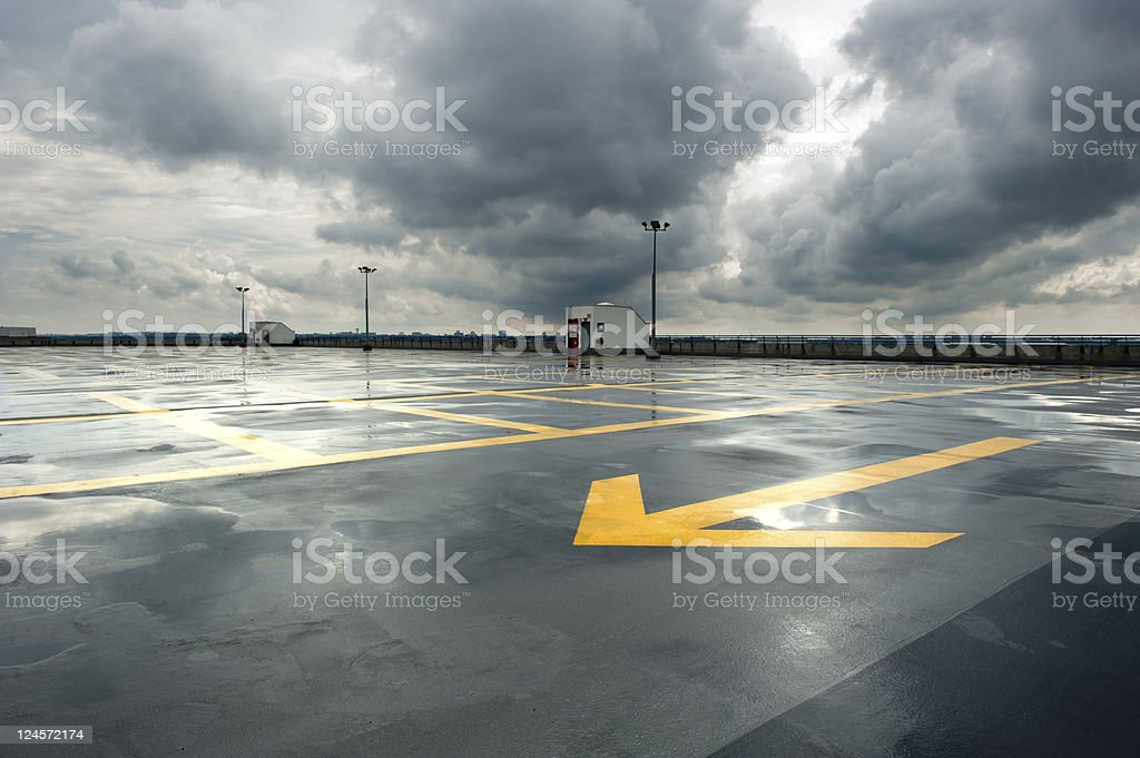 Rainy Parking stock photo