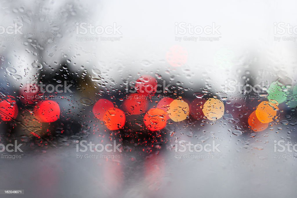 Rainy road, looking through the windshield, traffic royalty-free stock photo