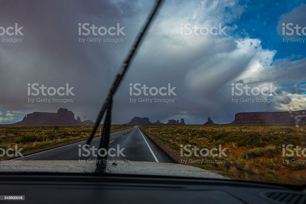USA Rainy Road Trip stock photo
