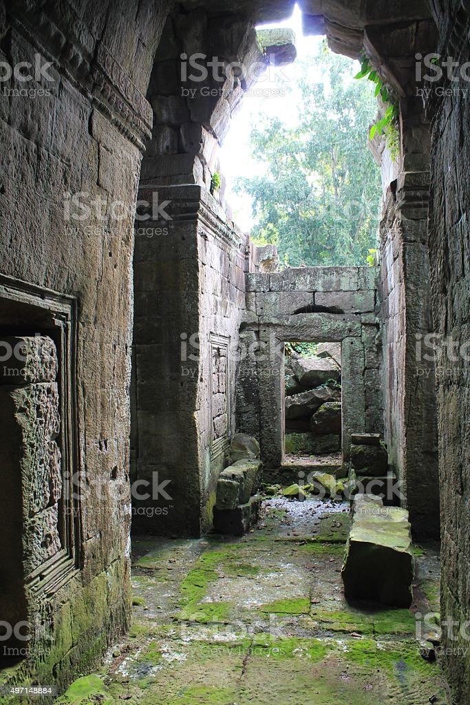 Rainy ruins near Angkor Wat, Cambodia stock photo