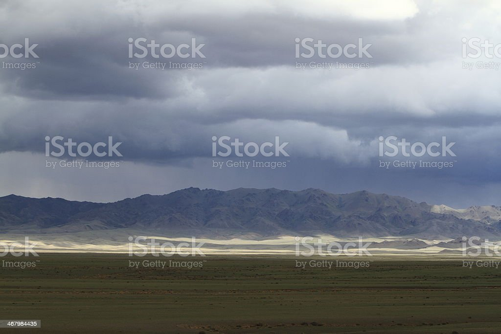 Regenzeit in der mongolischen Steppe stock photo