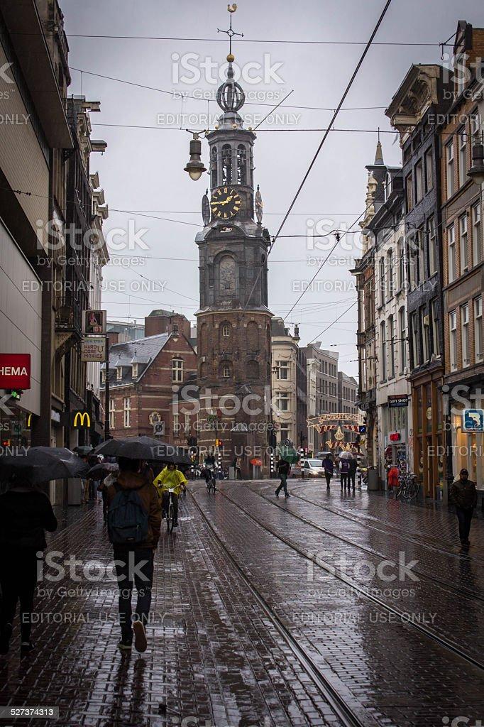 Rainy shopping in Amsterdam stock photo
