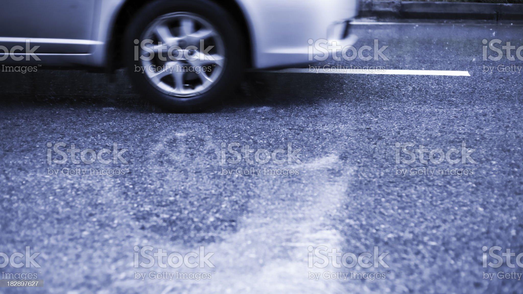 Rainy street and car royalty-free stock photo
