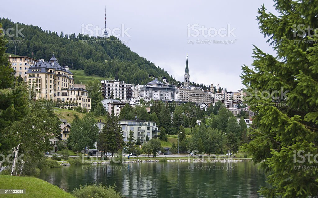 Rainy summer day in Saint Moritz stock photo