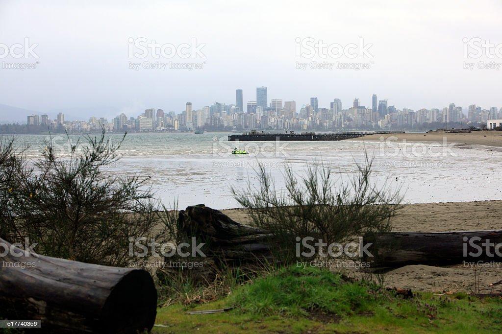 Rainy Vancouver Skyline And English Bay From Spanish Banks stock photo