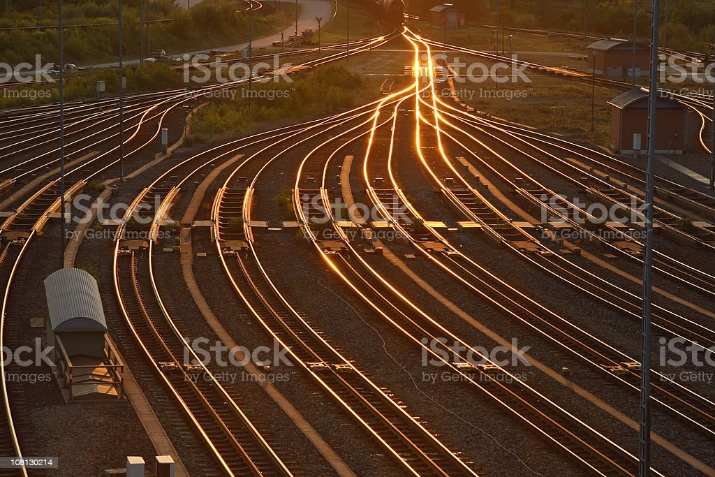 Rairoad Marshaling Yard at Sunset stock photo