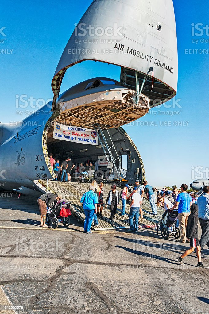 Raise Front Lower Ramp Welcome Aboard The Cargo Airplane stock photo