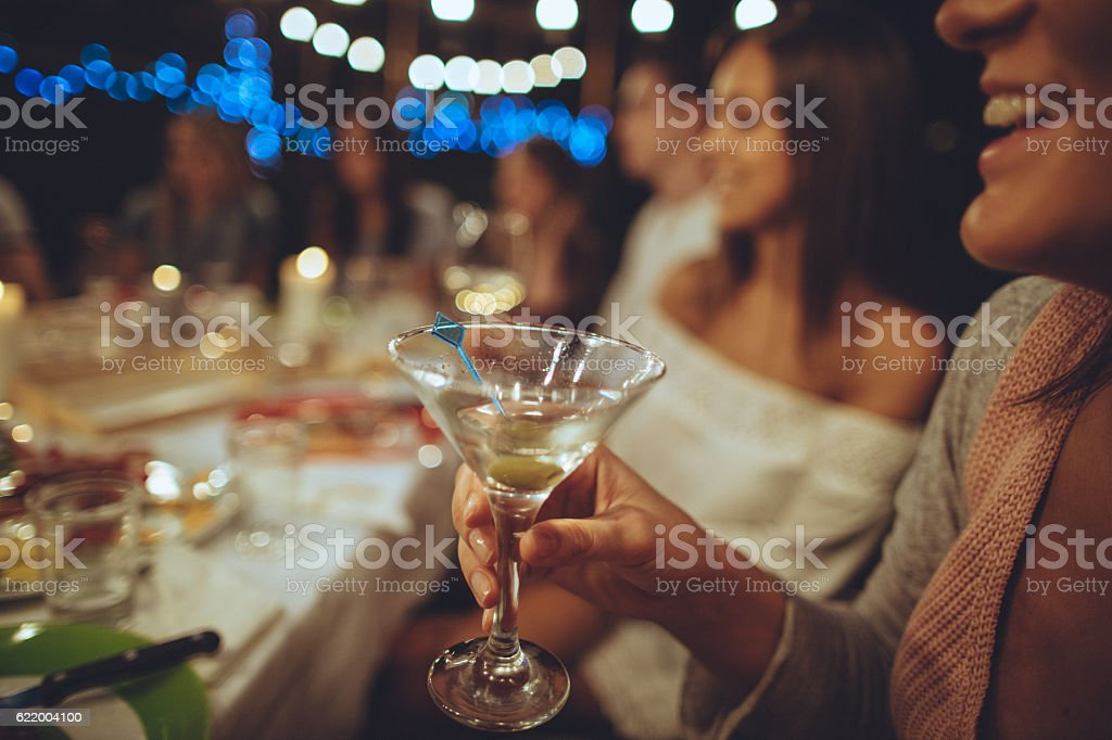 Raise our glasses! stock photo