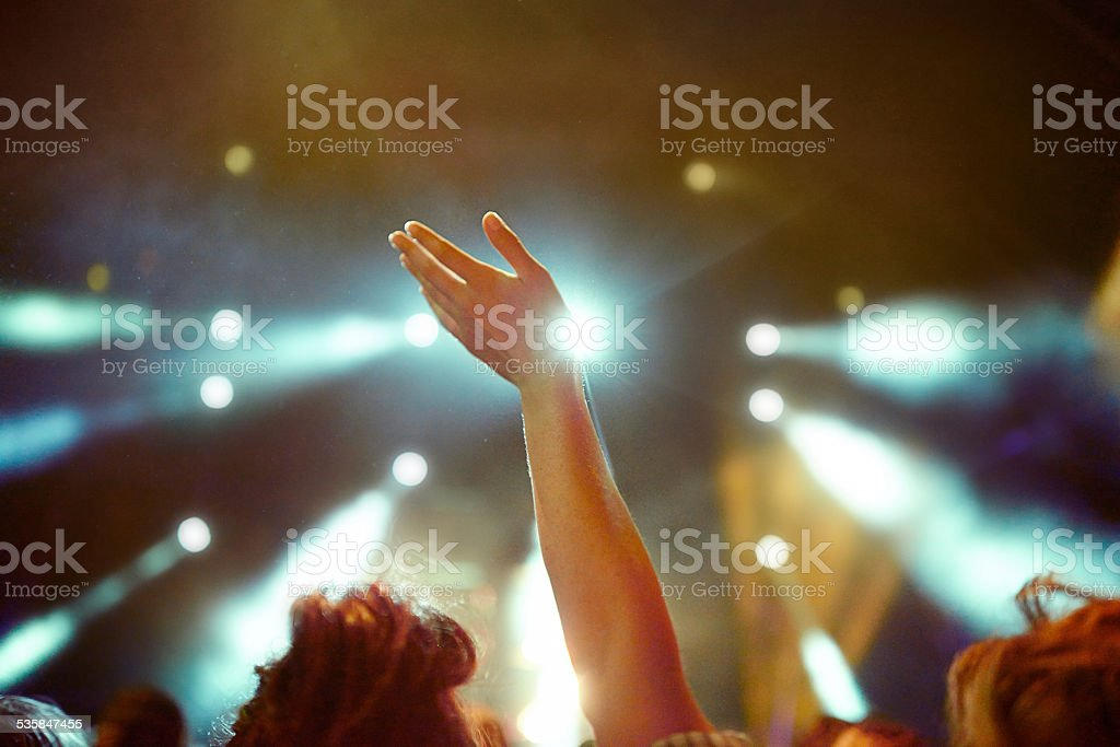 Raise your hands if you're having an awesome time stock photo