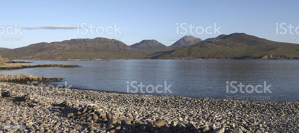 Raised Beaches and the Paps of Jura Mountains royalty-free stock photo