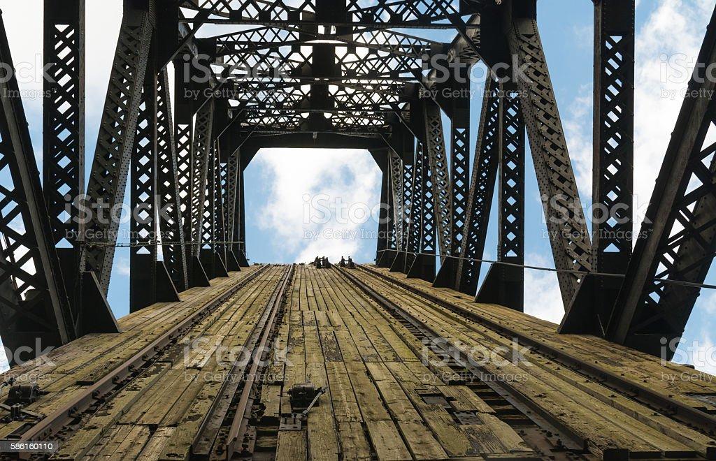 Raised bridge looking into the sky. stock photo