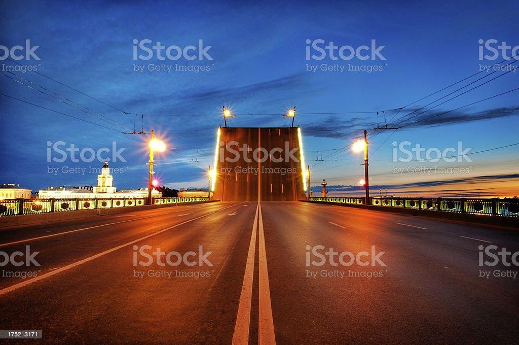 Raised Drawbridge in St. Petersburg at Night stock photo