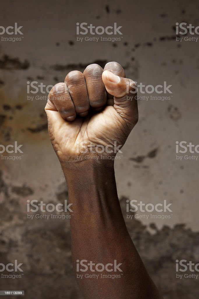 Raised fist stock photo
