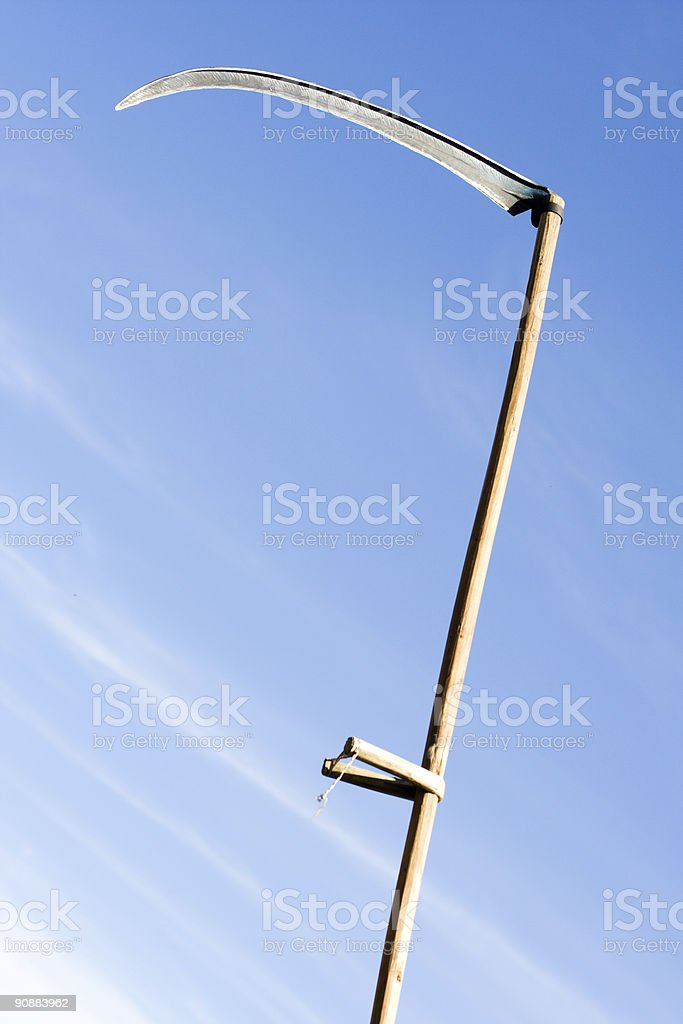 raised for stab sharpen scythe stock photo