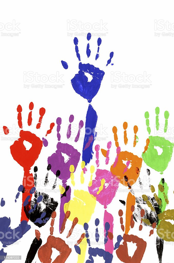 Raised hands in acrylic paint royalty-free stock photo
