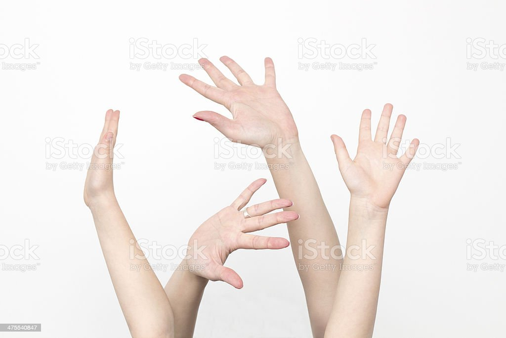 raised hands, isolated on white stock photo