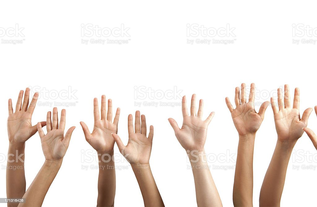 Raised hands on white background stock photo