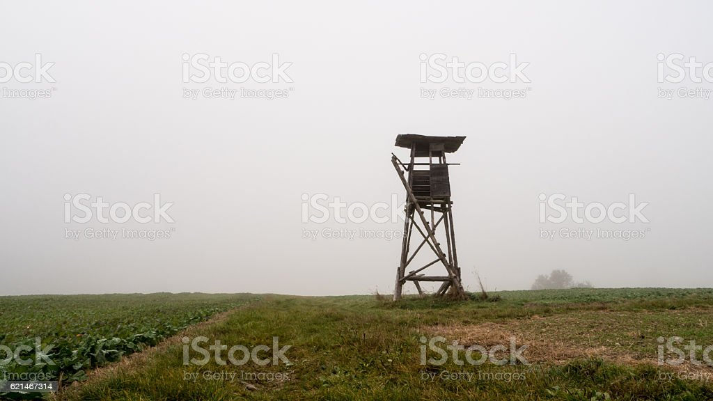Raised Hide on a rural field stock photo
