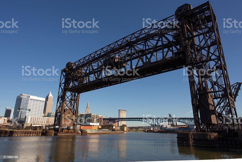 Raised railroad tressel over the Cuyahoga River stock photo