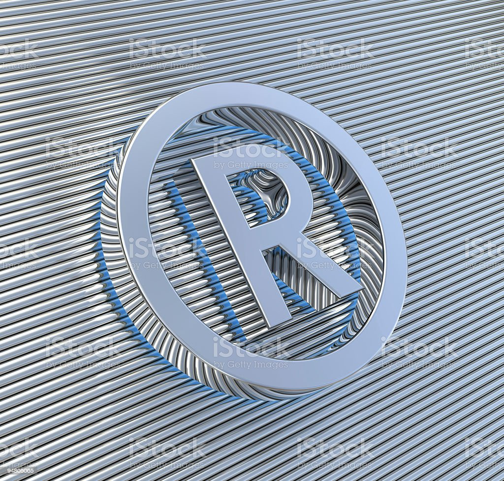 Raised Silver 'R' in circle against silver stripes royalty-free stock photo