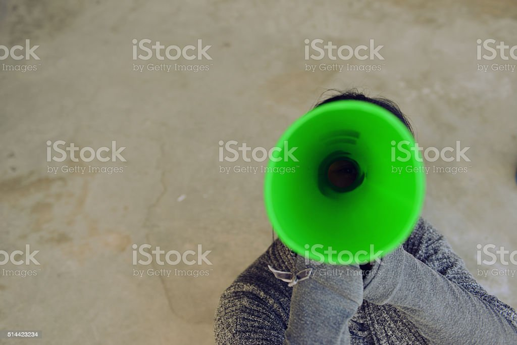 Raised the voice shouted stock photo