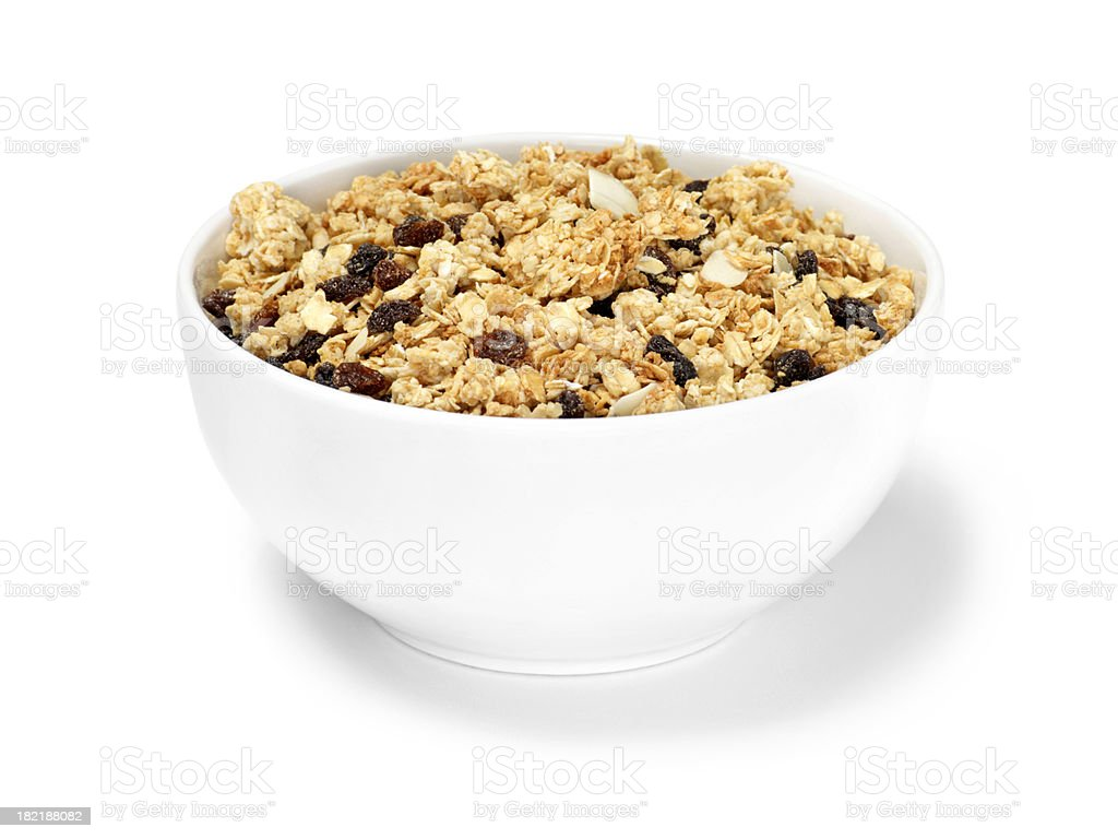Raisin & Almond Granola Breakfast Cereal stock photo