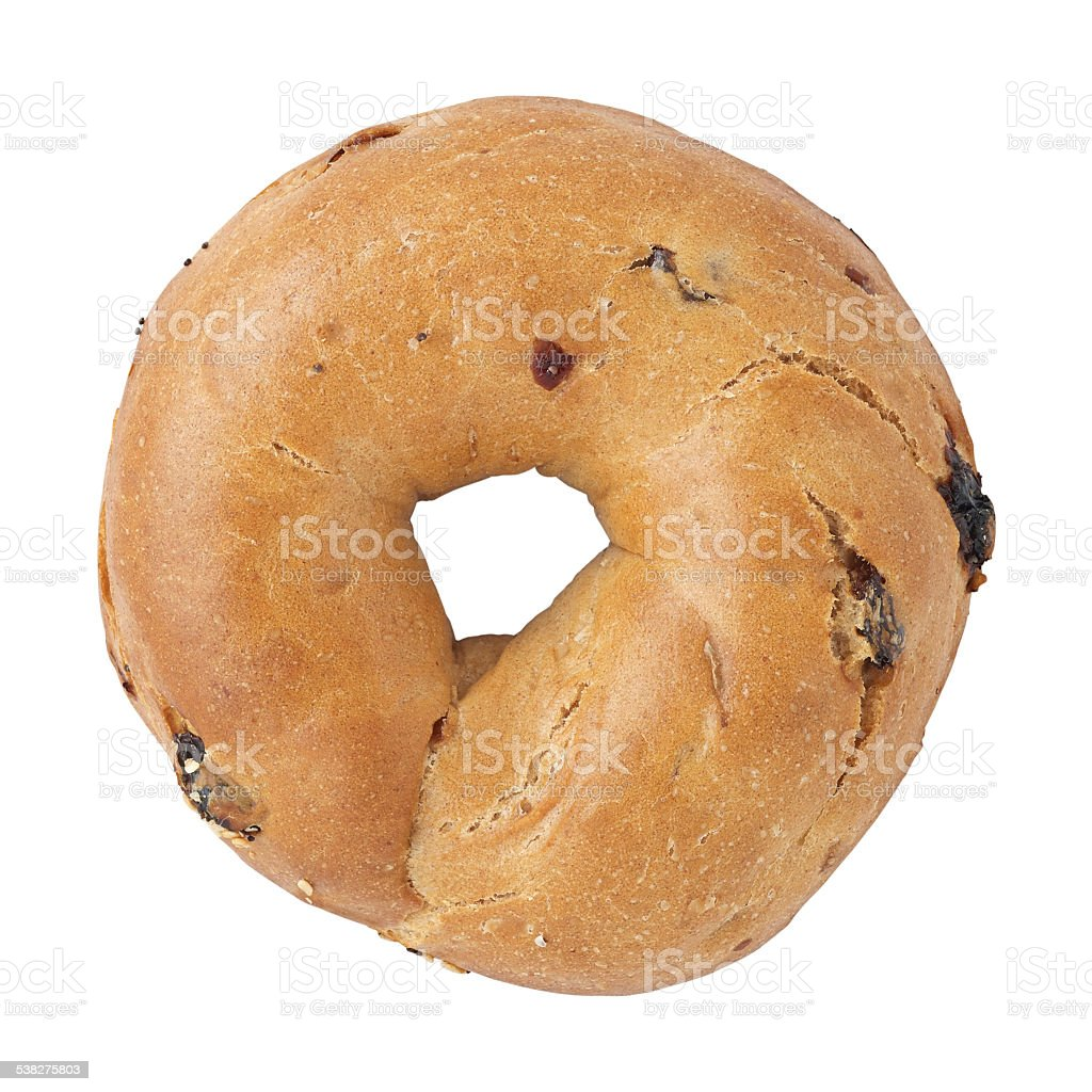 Raisin bagel on a white background. stock photo