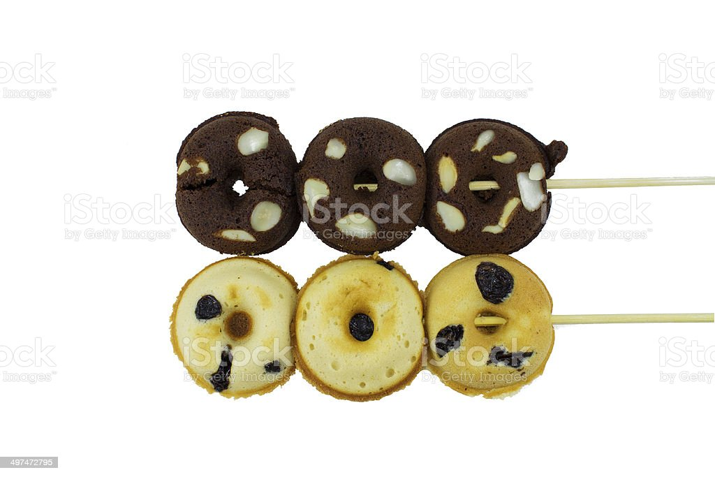 raisin donuts on white background stock photo