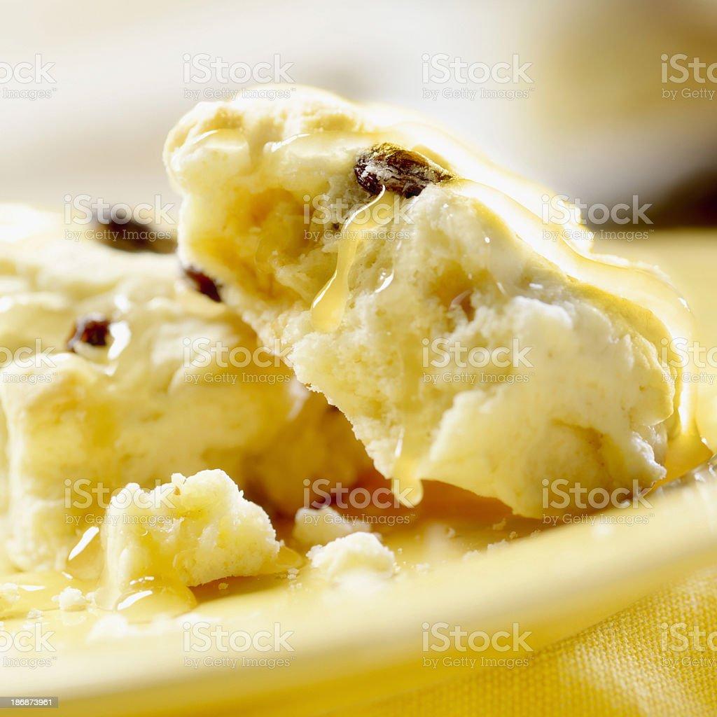 Raisin Scones with Honey stock photo