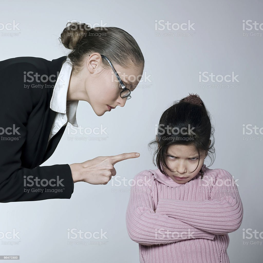 Raising Brat woman begging for his child attitude sullen royalty-free stock photo