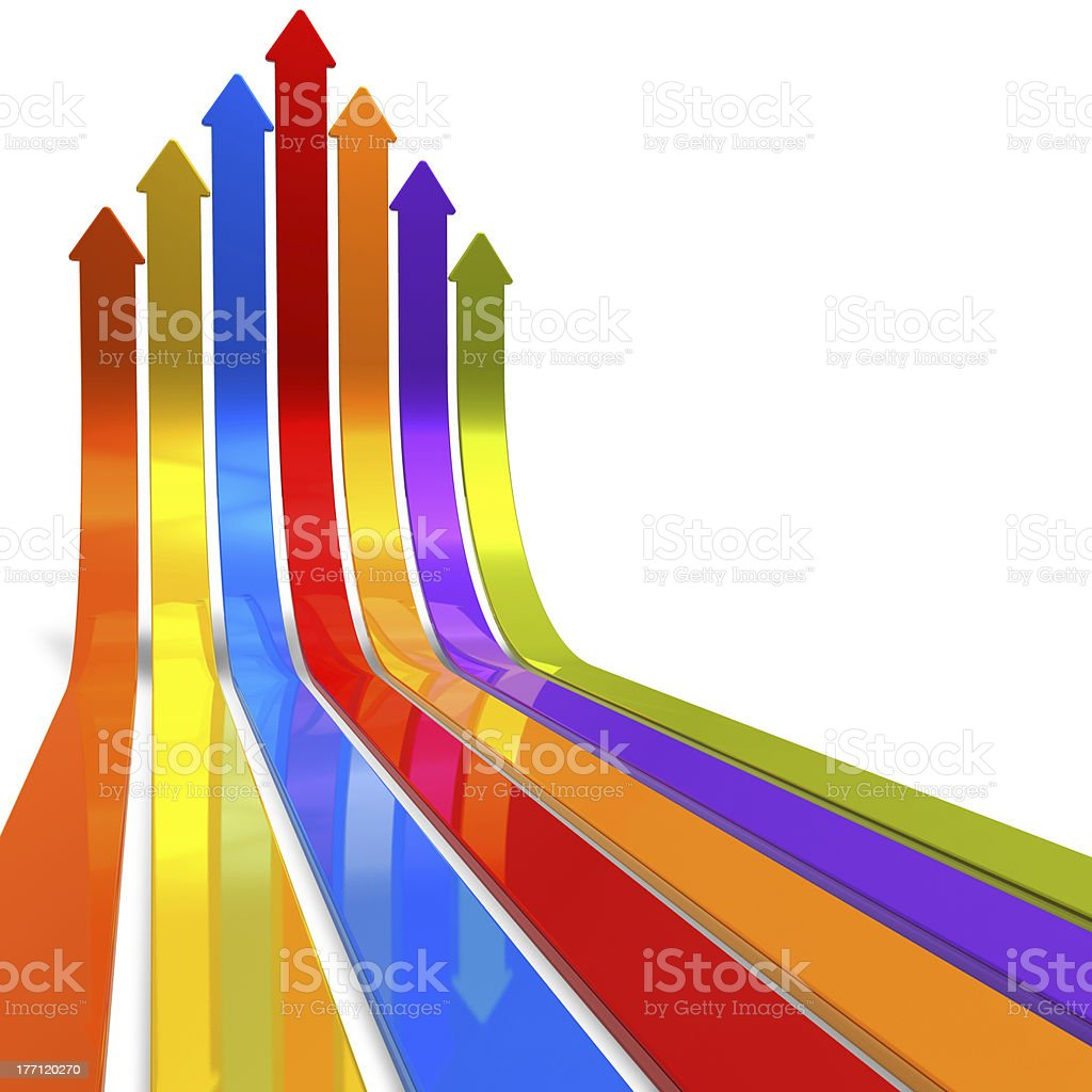Raising color arrows stock photo