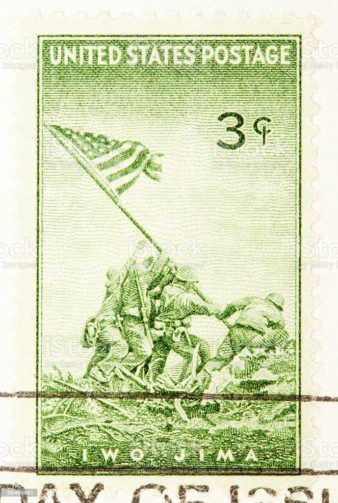 Raising Flag over Iwo Jima Postage Stamp royalty-free stock photo