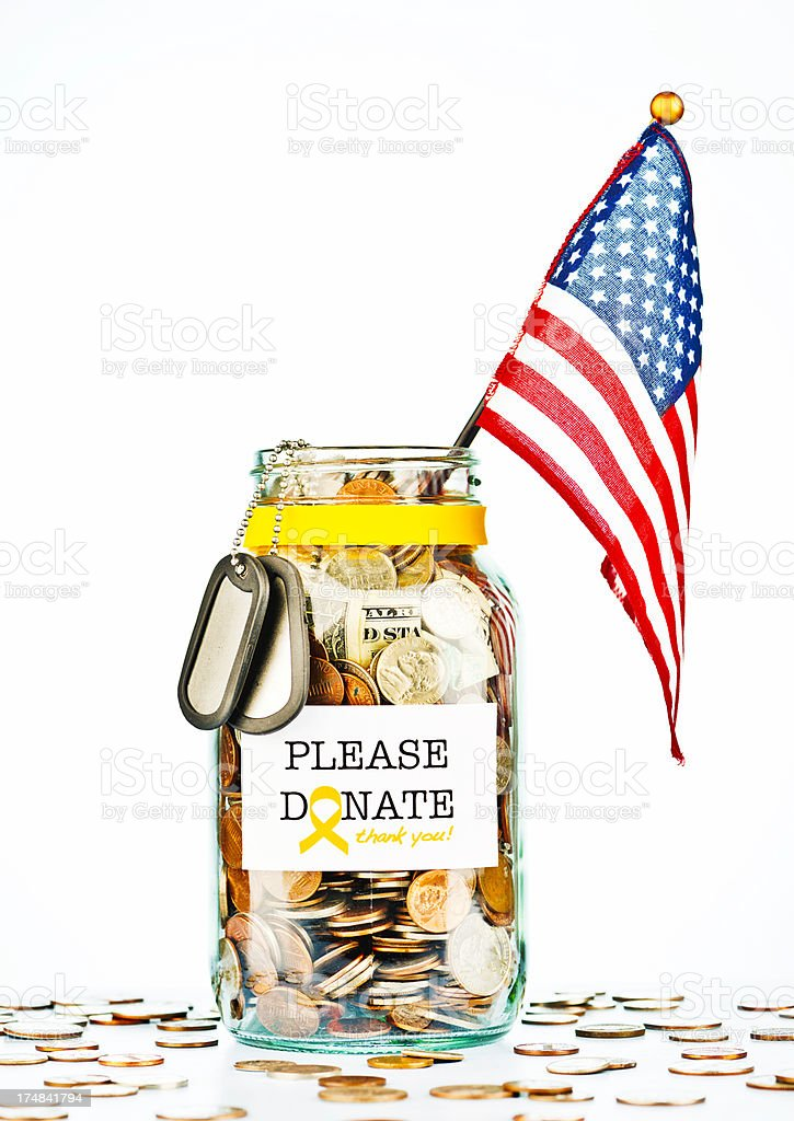 Raising Funds for The Armed Forces royalty-free stock photo