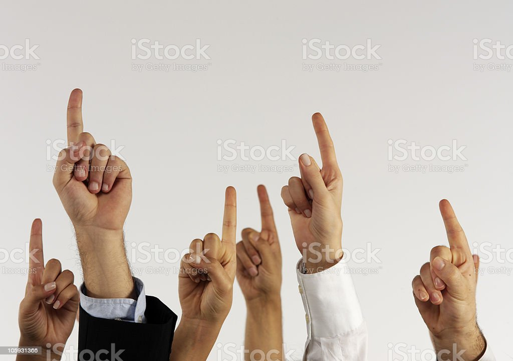 Raising hands royalty-free stock photo