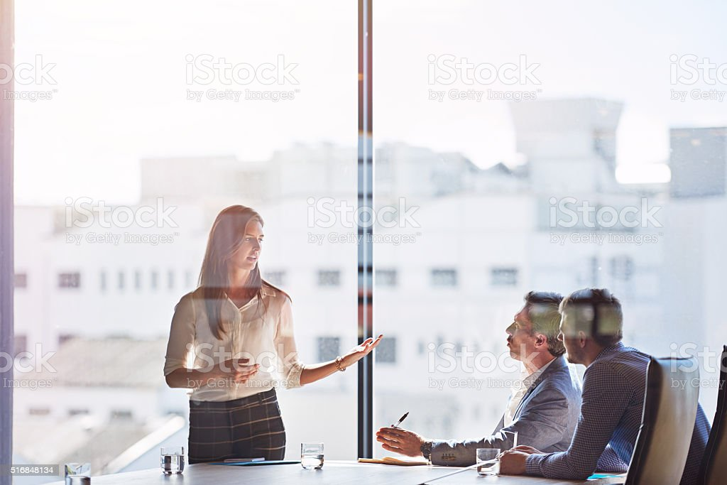 Raising important points stock photo