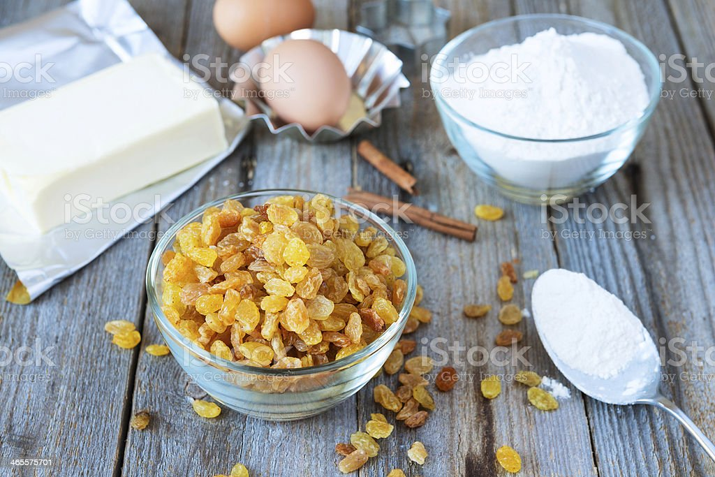 Raisins and ingredient for baking royalty-free stock photo