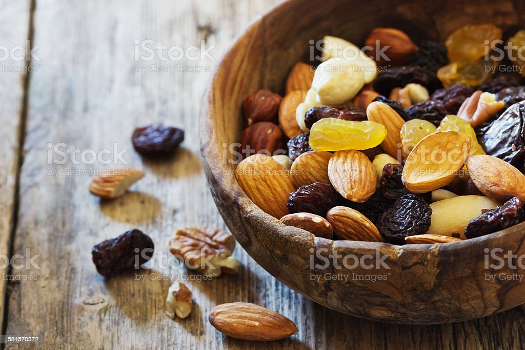 Raisins and various nuts stock photo