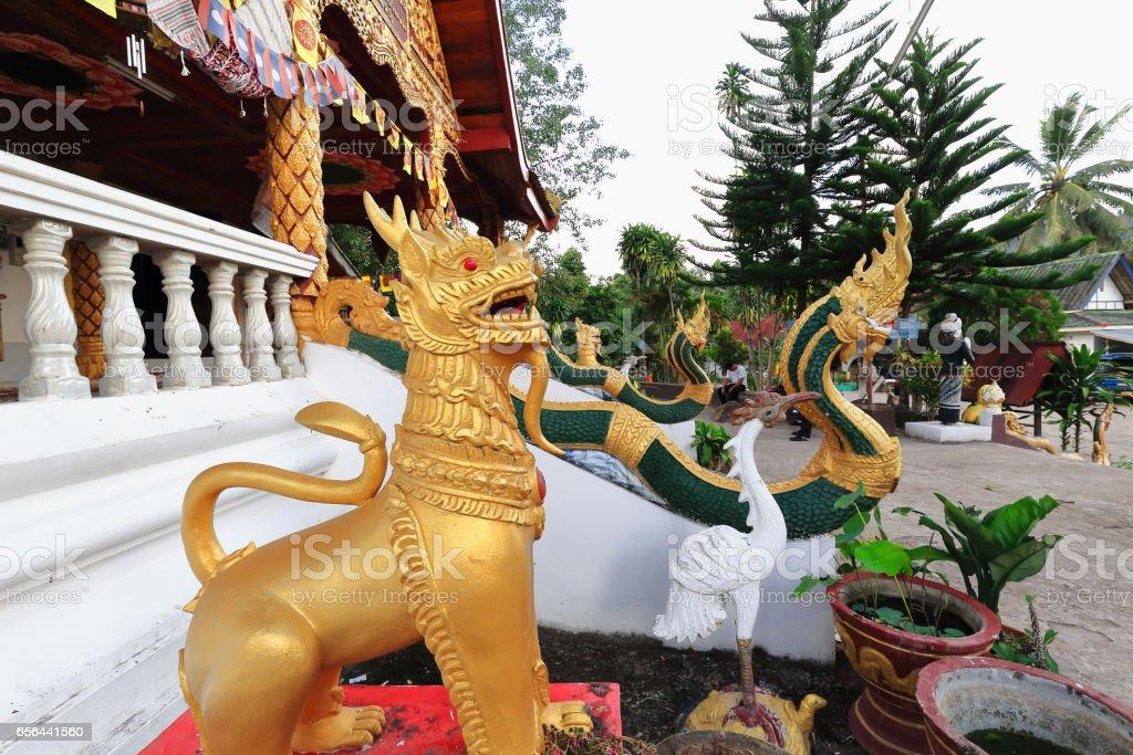 Rajasinha+naga statues-Wat Pha Singkham temple. Muang La-Udomxai province-Laos. 3572 stock photo