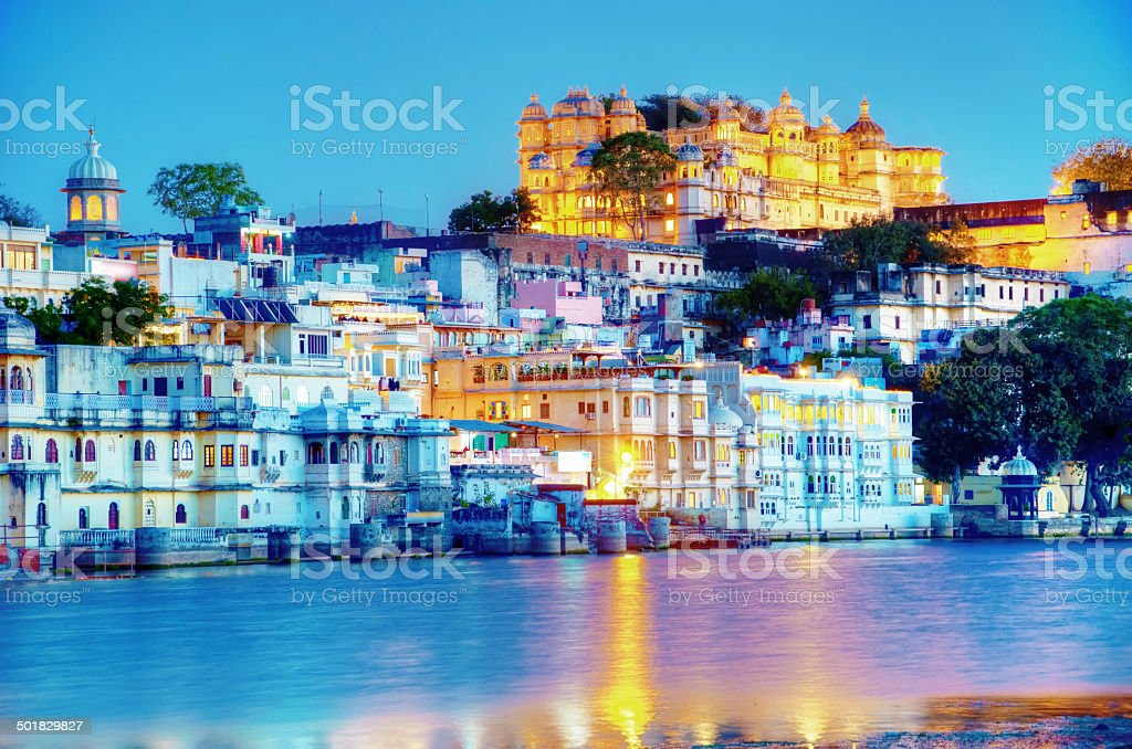 Rajasthan, India, Udaipur fortress by night 2 stock photo