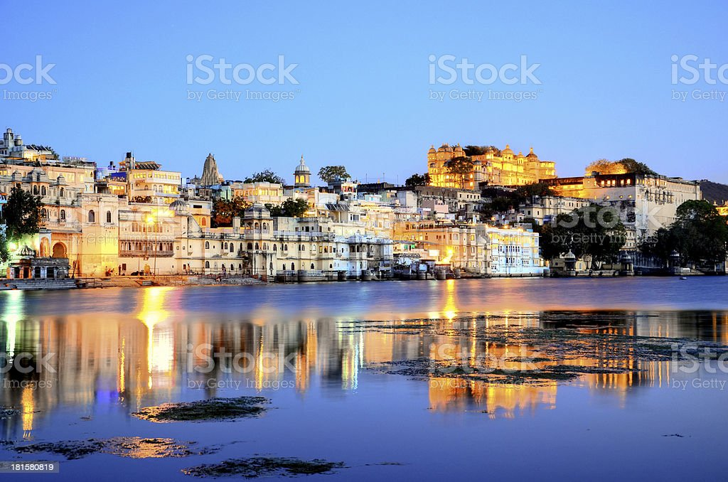 Rajasthan, India, Udaipur fortress by night royalty-free stock photo