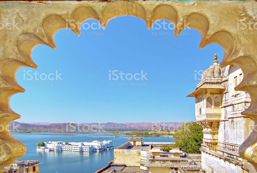Rajasthan, India, Udaipur fortress view to Lake stock photo