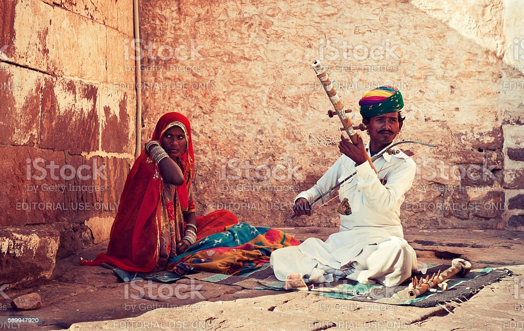 Rajasthan street musician with family. stock photo