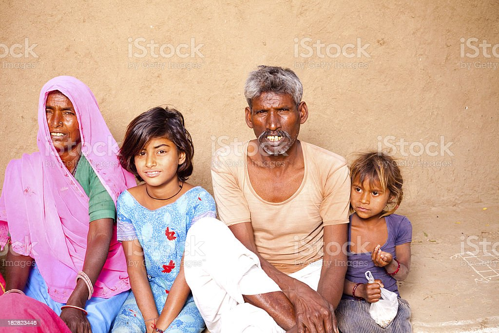 Rajasthan Traditional Rural Indian People Family in a village royalty-free stock photo