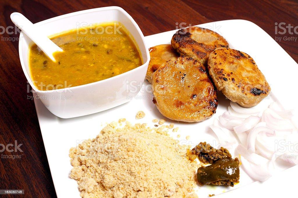 Rajasthani Dish Cusine Meal called Dal Baati Churma royalty-free stock photo