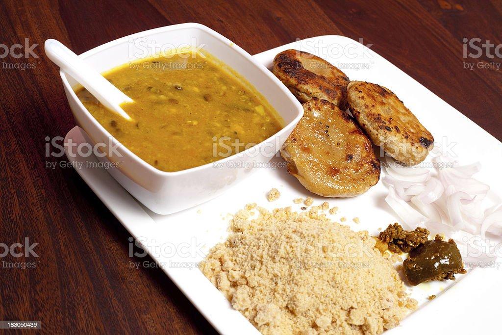 Rajasthani Dish Cusine Meal called Dal Baati Churma stock photo