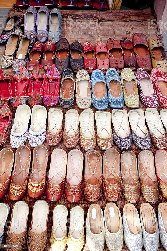 Rajasthani Ethic Traditional Chappal for sale in Jaipur, Rajasthan royalty-free stock photo